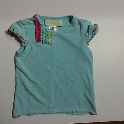 Baby Lulu Boutique Blue Ruffle Ribbon Tee Shirt T-Shirt Girls sz 4 4T