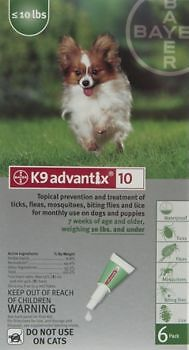 Bayer K9 Advantix II For Dogs Under 10 lb (2 Doses) Free Shipping