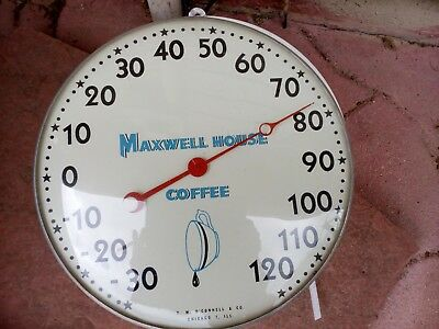 Vintage Maxwell House Thermometer With Glass Dome 50s-60s