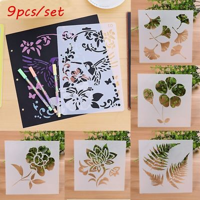 9pcs/set Layering Stencils Scrapbooking Embossing Template Flower Pattern