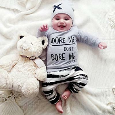 Newborn Baby Boy Girl Long Sleeve Letter Print Tops+Pant+Cap Outfits Clothes Set