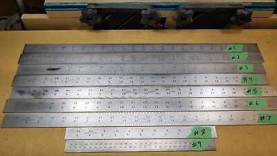 "Vintage Starrett Shrink Rules, Rulers, Lot of 9  Seven 24"" Long & Two 12"" Long,"
