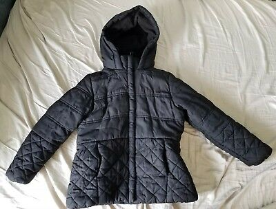 Rothschild Girl's Black Puff Winter Coat Large