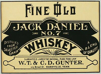 Vintage Old Jack Daniel No 7 Whiskey Advertising Logo Print Silkscreen