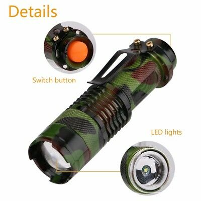 Tactical Military Zoomable Waterproof Mini LED Lamp 7W 1200lm Cree Q5 Flashlight