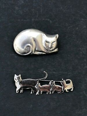 Lot Of 2 Cat Pins .925 Sterling Silver Brooch Fat Cat & Cat and kittens
