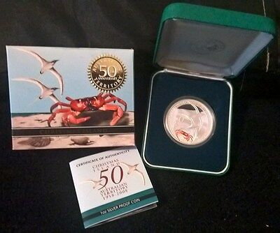 2008 One Dollar Silver Proof -*christmas Island 50Th Anniversary* - 1 Ounce