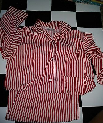 American Girl Molly's red and white striped pajamas 10/12