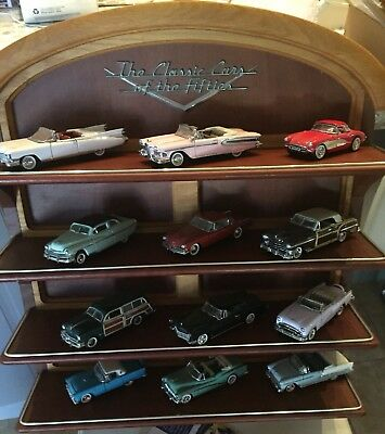1989 FRANKLIN MINT CLASSIC CARS OF THE FIFTIES 12 Cars & Book 1/43 & Display