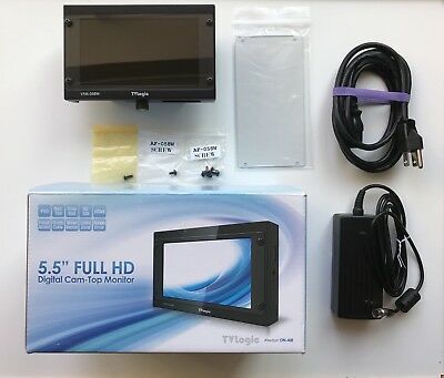 "TVLogic VFM-058W 5.5"" 1080p Full HD Viewfinder Monitor with LP-E6 Battery Plate"