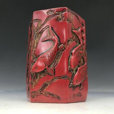 Chinese artificial coral brush pot pure hand-carved fish pattern h184