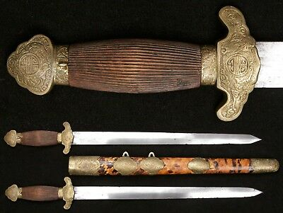 Antique Chinese Qing Dynasty Shuang Jian Double Sword Hudiedao Dao Sabre Old