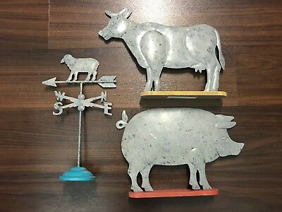 Farmers Market Livestock Cow, Pig, Sheep Weather Vane Tabletop Decor