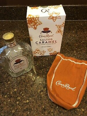 Crown Royal Salted Caramel Bottle Bag & Box Empty Limited Edition Collectible!