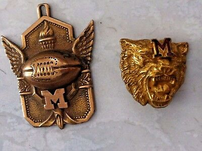2 Vintage UNIVERSITY MICHIGAN WOLVERINES Pins Medallion College Football RARE NR