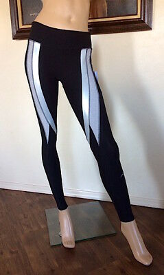 998935341d9f5 X by Gottex Black/Grey/Silver Curved Stripe Banded Waist Leggings NWT Size  XS