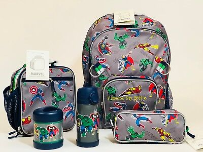 New Pottery Barn Kids Gray Marvel Large Backpack Lunch Box Water ThermosPencil
