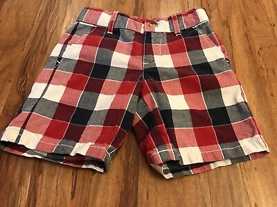 Janie and Jack Boys Plaid Shorts Size 2T Red White Blue 4th July