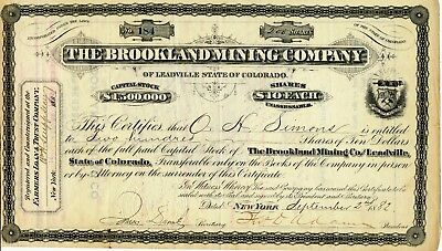 2 1882 Brookland Mining Company Stock Certificates Leadville Colorado With Maps