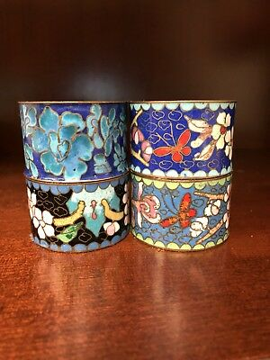 Set Of Four Napkin Rings Vintage Cloisoinne Floral Butterfly Chinoiserie