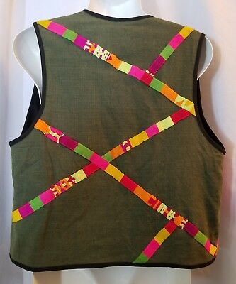 Bright Colorful Striped Green Vest Multi Color Ethnic Theologos