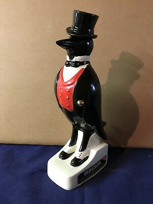 Vintage Old Crow Decanter Bottle with Top Hat Partial Stamp 1961-77