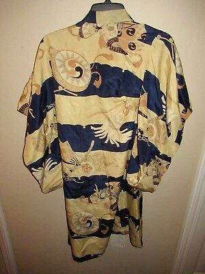 Gorgeous! VINTAGE JAPANESE Sword SILK KIMONO ROBE MEDIUM/LARGE Vibrant Colors