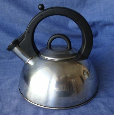 Vintage Stainless Steel Whistling Kettle, Stove Top. Quality Item, Heavy Base