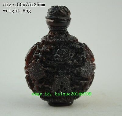 Collectible chinese Handwork Old Horn Carving dragon Fish Decor Snuff Bottle a01