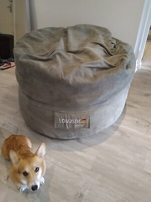 Lovesac Moviesac Olive Green Microsuede Foam Beanbag Washable cover Used