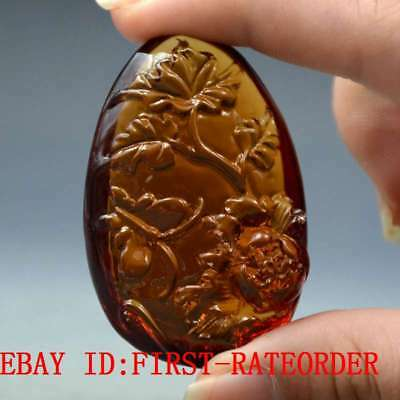 19.9g 100% Natural Baltic Amber Stone Hand-carved Peony Pendant F36
