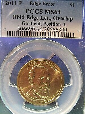 2011-P James Garfield  Double edge letter Overlapped  let. Pos.A MS64