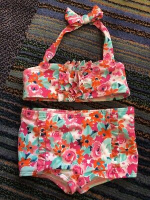 Janie And Jack Baby Girls Floral Bikini Swimswit 12-18 M NWOT