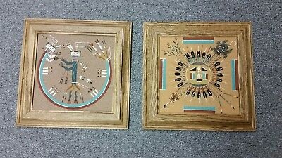 Vintage Hand Made Navajo / Sioux Native American Indian Sand Art Pair - Signed