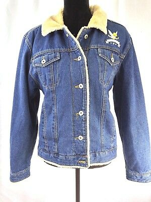 DISNEY Tinkerbell Medium Denim Sherpa Lined Jean Jacket Embroidered Fairy LARGE