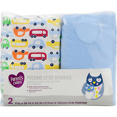 "28"" x 52"" Fitted Cars Design Crib Sheets Mattress 100% Cotton Soft Finish 2 Ct"