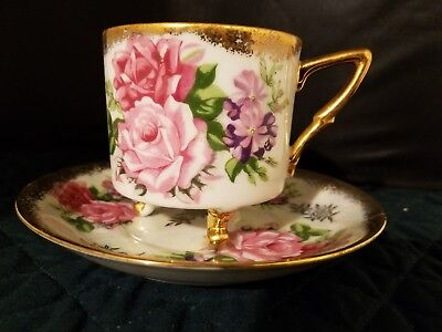 Vintage L M Royal Halsey Very Fine China Rose Lusterware Footed Cup And Saucer