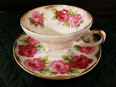 Vtg Del Mar Japan China 3 Footed Rose Tea Cup & Saucer Hand painted 24k Gold