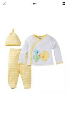 Gerber 3-Piece Unisex Yellow Take Me Home Set Size 0-3M BABY CLOTHES SHOWER GIFT