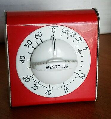 Vintage Westclox Look-Out Red And White Kitchen Timer