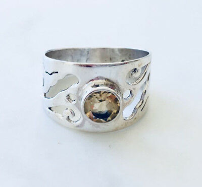 925 Sterling Silver Citrine Ring Round Gemstone Filigree Wide Band US Size 7 8 9