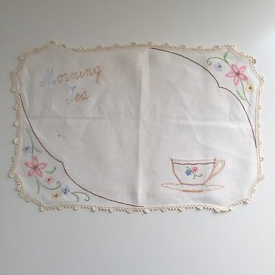Handmade Morning Tea Embroidered Linen Placemat Doily Crocheted Edge & Pocket
