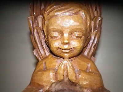 Signed Wooden Leopoldine Mimovich Sculpture  of an Angel praying