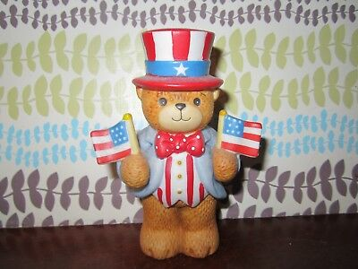 Lucy & Me Uncle Sam Patriotic USA Flags Teddy Bear Porcelain Figurine 1985 NWT
