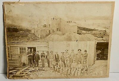 PHOTOGRAPH GROUP NEVADA COMSTOCK GOLD MINING 1860s 1870s Miners Mill
