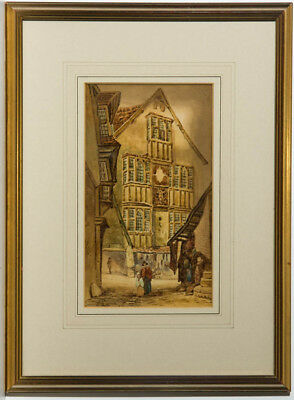 W.W.H. - A Pair of Late 19th Century Watercolours, City Scenes with Figures