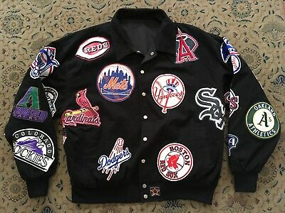 QUALITY REVERSABLE AMERICAN BASEBALL JACKET with ALL MBL TEAM LOGO PATCHES