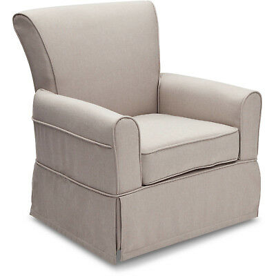 Awesome Nursery Rocker Chair Glider Swivel Taupe Finish Padded Seat Beatyapartments Chair Design Images Beatyapartmentscom