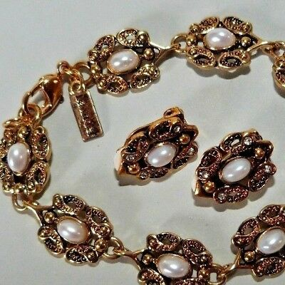 Vintage Signed Launder Bracelet and Clip Earring Set Victorian Style