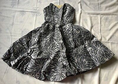 Vintage 1950s Gray and Silver Strapless Dress - DANCE ORIGINALS BY FRED PERLBERG